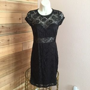 Black mid sheer lace dress